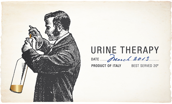 Urine Therapy white wine label | graphic by Tommaso Bovo