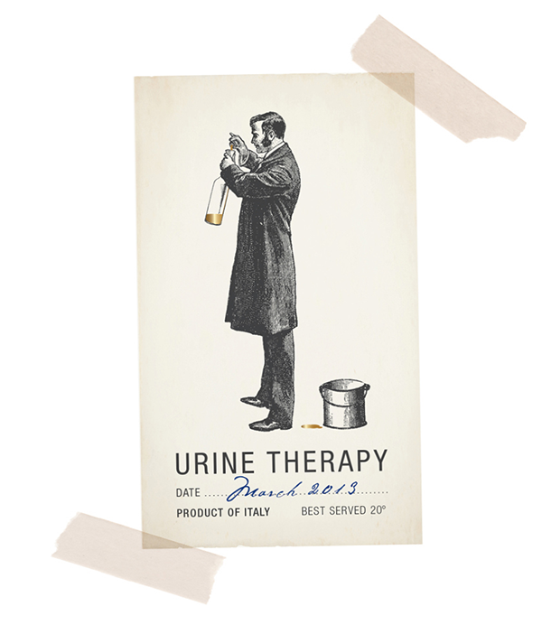 Urine Therapy label concept project | graphic by Tommaso Bovo
