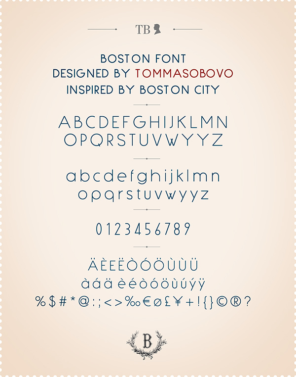 Boston font glifi | graphic www.tommasobovo.com