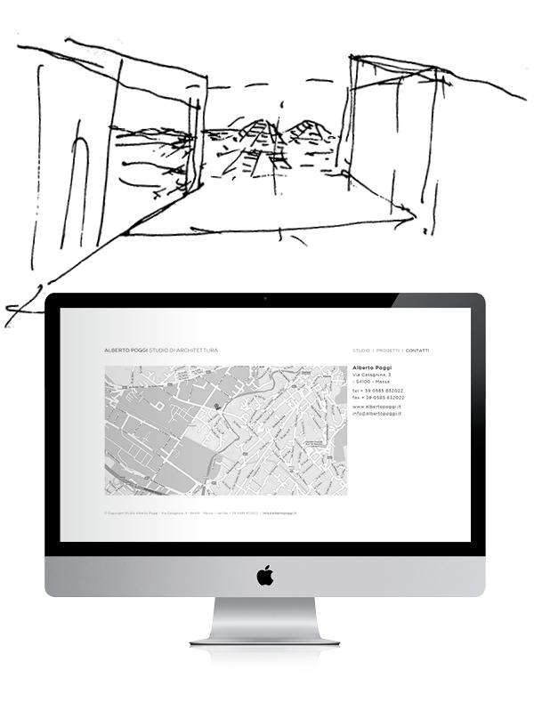 schizzo e schermata sito | web design Tommaso Bovo